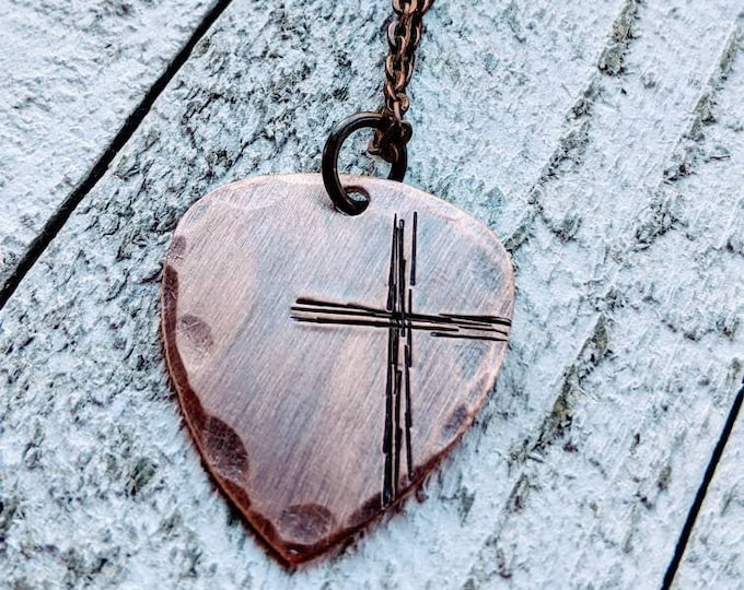 Rugged cross necklace. Hand Stamped Guitar Pick/ Copper/ Christian gift. Gift for Him. Men's necklace.