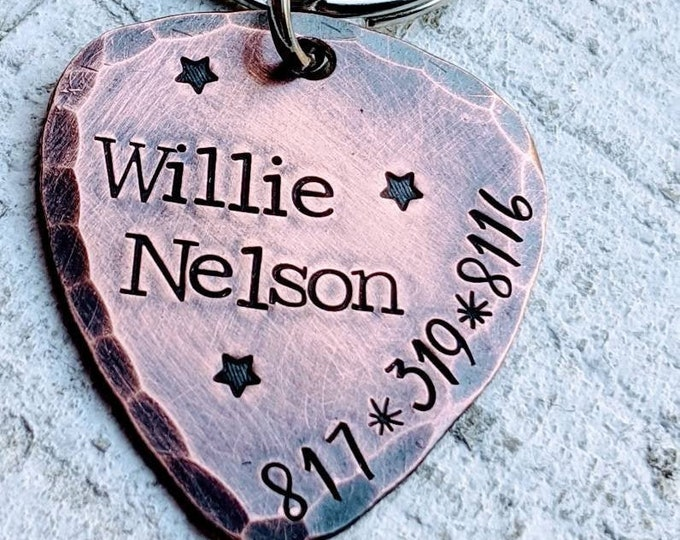 Guitar pick Pet ID Tag Hand Stamped Copper. Pet Name Tag. Dog Tag. Rustic. Willie Nelson. Waylon Jennings. Hank Williams.