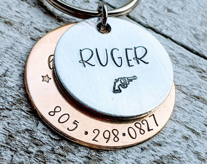 Pet ID name tag. Pet identification. Got lost looking for bitches. Ruger. Pistol. Pet name tag.