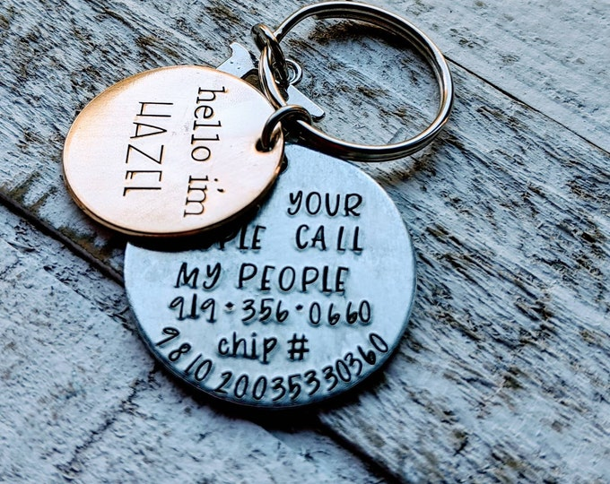 Pet ID Tag with Microchip number and phone number. Hand Stamped Brass. Lost Pet. Pet Name Tag. Dog Tag.  Have your people call my people.