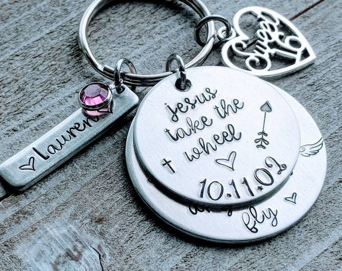 Sweet 16, Hand Stamped, birthday gift for daughter, Never drive faster than your guardian angel can fly, Jesus take the wheel