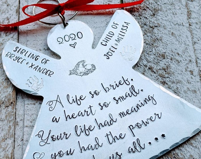 Miscarriage. Hand stamped memorial ornament. Baby Loss. Stillborn. Infant Death. Death of child. Child loss.