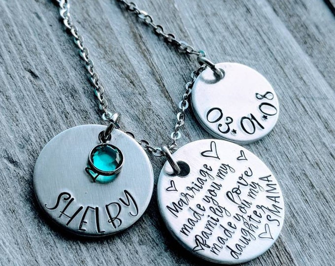 Daughter-in-law Necklace Gift for daughter Wedding gift Stepdaughter gift.