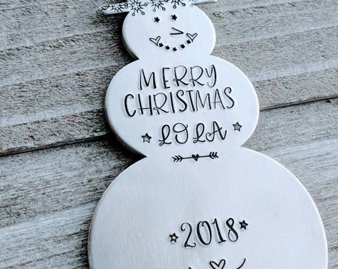 Grandparent gift. Ornament for grandchild. Hand Stamped Snowman Ornament. Holiday Ornament. Grandma and Grandpa. Christmas 2021