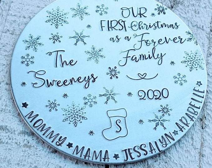 Forever family Christmas. Hand Stamped adoption Ornament. Christmas Ornament. Foster care. Adopted. Sealed. LDS