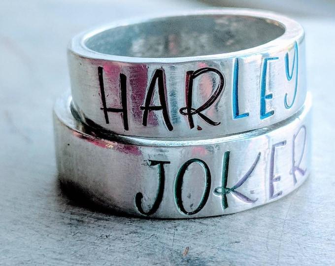 Joker/Harley Quinn [Batman]stackable pewter rings 6 mm. Lover's rings. Anniversary present. Valentine's Day. Couple's Gift.