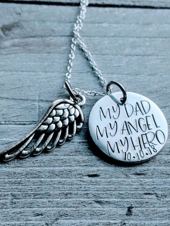My Dad, My Hero, My Angel Memorial Necklace  Lost Daddy, Lost Father  Death  of Dad  Gift for Daughter