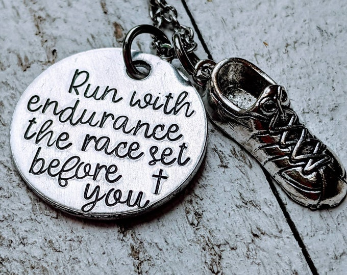 Run with Endurance the race set before you. Hebrews 12:1 necklace. Workout. Fitness. Runner. Marathon runner. Strength.