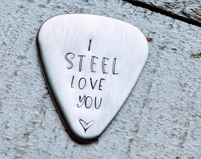 11th Anniversary Guitar pick/ I steel love you/  anniversary present/ Gift for spouse. Steel. Traditional anniversary gift.