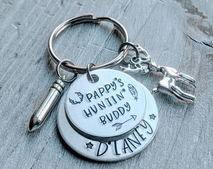Hunting Buddies. Hunting Keychain. Gift for Dad or Grandpa.