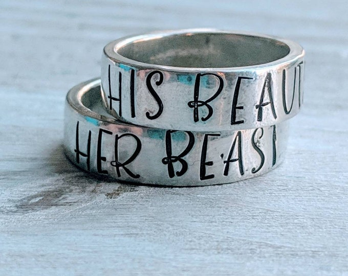 Beauty and Beast. His Beauty. Her Beast. Stackable pewter rings. Lover's rings. Anniversary gift. Valentine's Day. Couple's Gift.