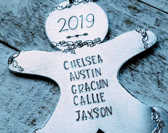 Hand stamped Christmas Gingerbread Ornament with Family names and year