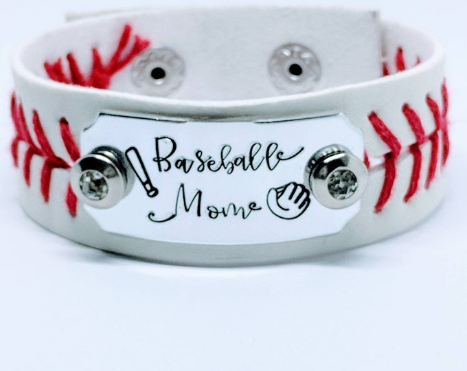 Baseball Mom. Hand stamped leather cuff. Sports fan. Team mom. Baseball fanatic. Ball player. Softball. Baseball dad.