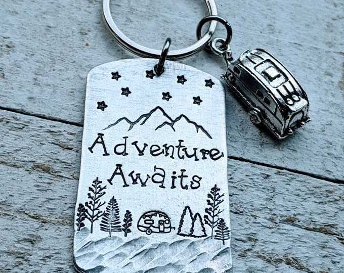 Adventure Awaits. Camping Keychain. Camper Keychain.