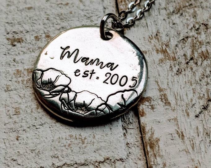 Mama Established necklace. Pewter Mom Est Grandma Est. Mama necklace