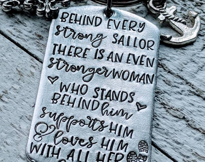 Military mom. Military wife. Gift for son. Gift for Navy. Deployment. Behind every strong sailor is a stronger woman. Navy WIFE. Navy mom.