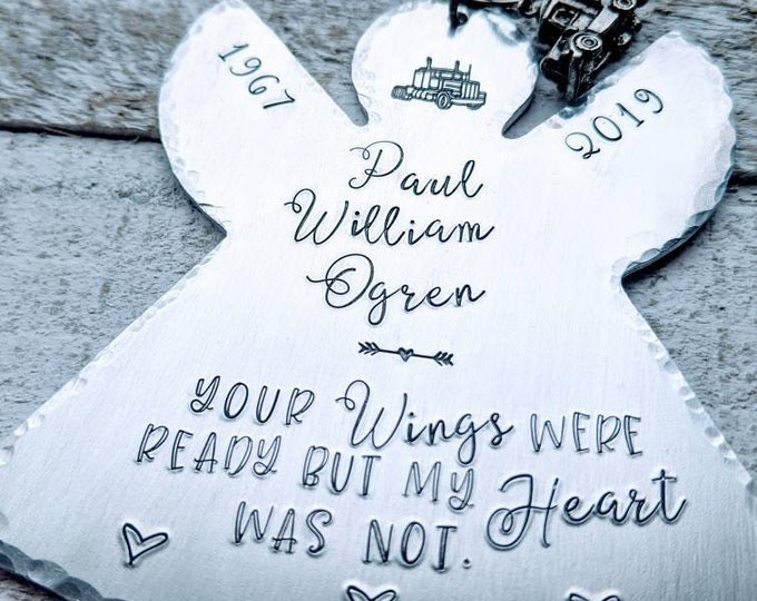 Memorial Angel Ornament. Hand Stamped Ornament. Christmas Ornament. Wings were ready. Trucker. Semi.