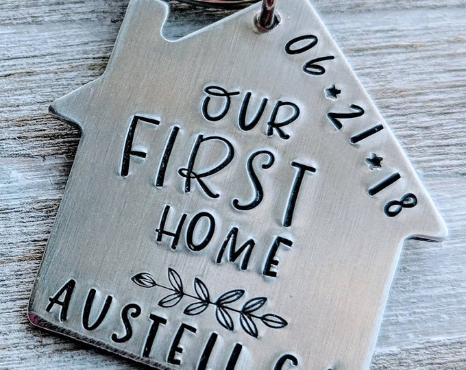 Our First Home. Homeowner. Housewarming, House keychain. New home. Our new home.
