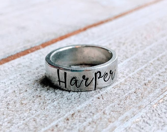 Stackable Mom Rings 6 mm, Customized. Gift for her, Mother's Day. Stamped rings. Children's names. Pewter. Birthday. Mom. Wife.