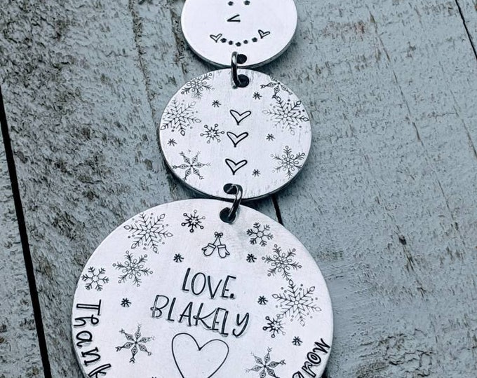 Dangling Snowman. 3 piece Hand Stamped Ornament. Thank you for helping me grow and Learn. Teacher. Daycare. Preschool. Babysitter. Nanny.