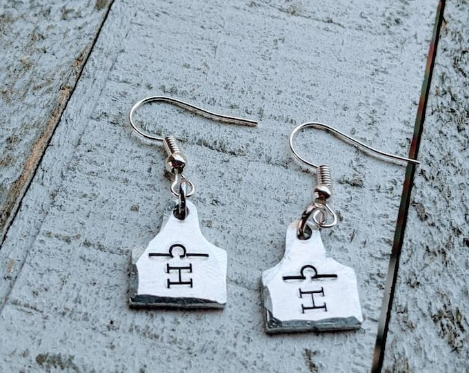 Ear Tag earrings Cow Cattle Pig Sheep Goat Show. 4H. Agriculture. Farming Jewelry. Show mom. Lamb. Branding