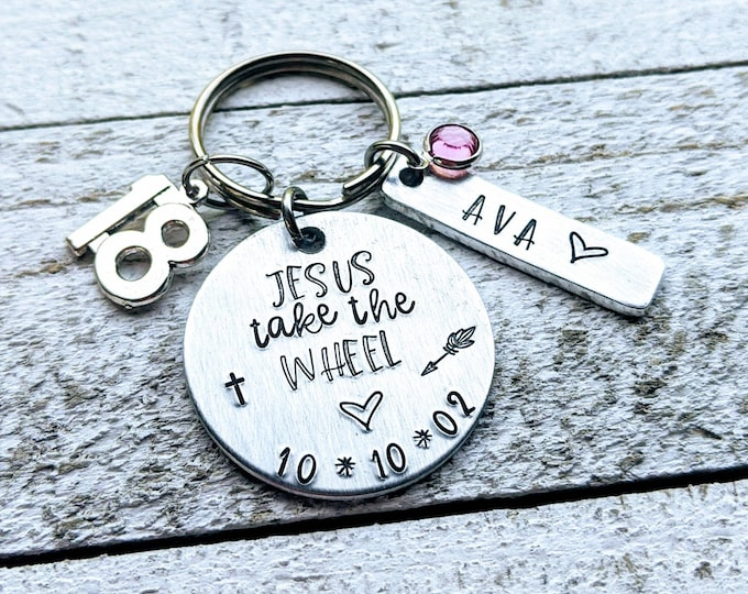 Jesus take the wheel. 18th birthday. Hand Stamped, birthday gift for daughter, birthday gift for neice. New driver gift. Guardian angel.