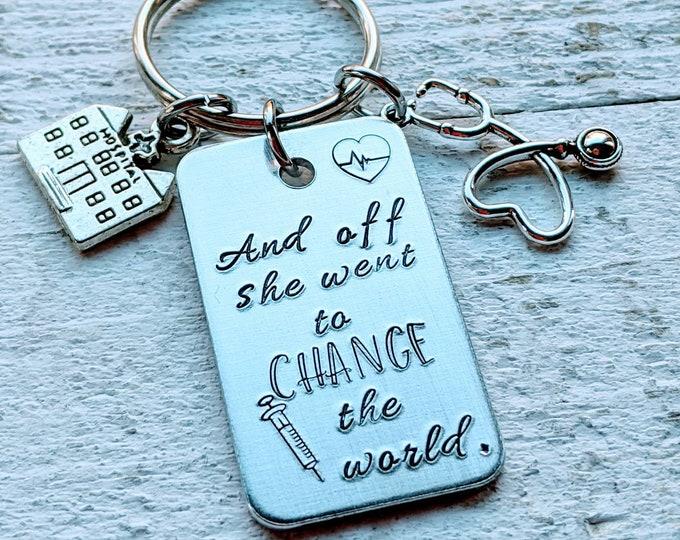 Nurse gift. RN. Nursing school. Stethoscope. Nurse. Nursing School Graduate. Change the world.