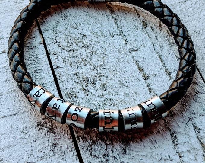 Stamped woven bracelet for men. Valentine's gift. Leather bracelet. Unisex bracelet. Kids names. Father's day. Dad bracelet.