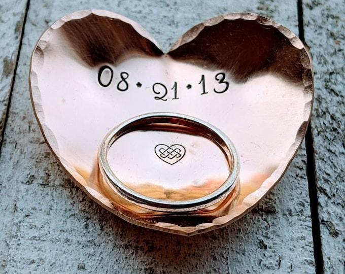 Ring dish. Personalized ring holder. Stamped trinket holder. Trinket dish. 8 Year Anniversary Gift. Bronze. 8th anniversary.