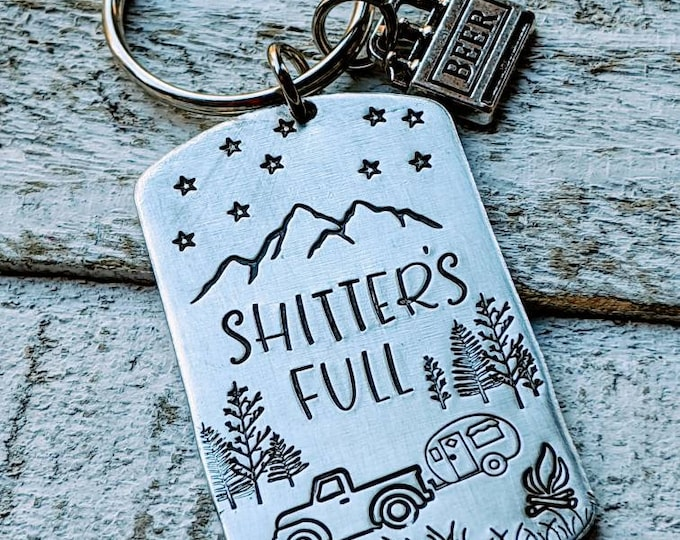 RV keychain. Shitter's full. Rv Key. Camping Keychain. RV, Camper Keychain. Travel. Traveller. Outdoors. Mountains. National Lampoons