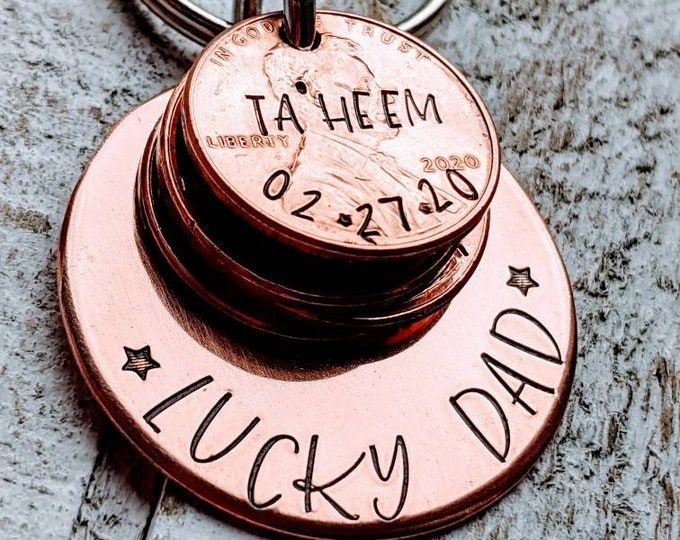 Lucky Dad. Lucky Papa. Penny Keychain. Gift for Dad. Gift for Grandpa. Gift for Papa. Father's day.