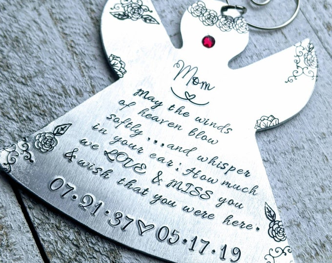Memorial Angel Ornament. Hand Stamped Ornament. Christmas Ornament. May the winds of heaven blow softly.
