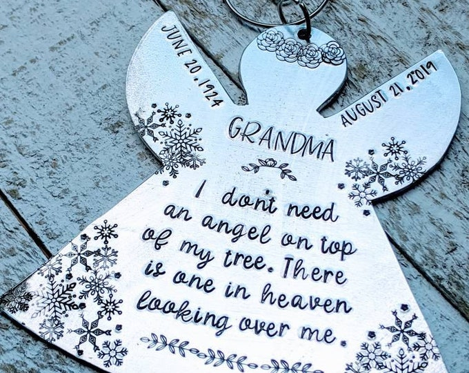 Memorial Angel Ornament. Hand Stamped Ornament. Christmas Ornament. Angel on top of my tree. Angel in heaven looking over me.