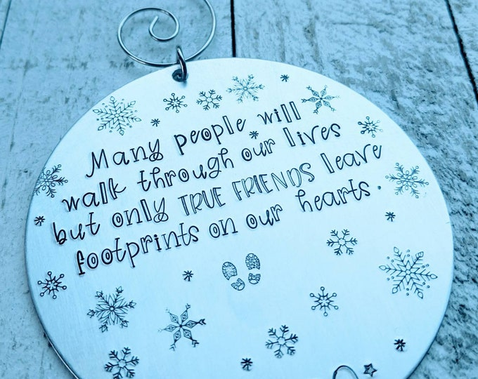 Friend gift. Footprints poem. Gift for best friend. Footprints on your heart. Christmas. Hand Stamped