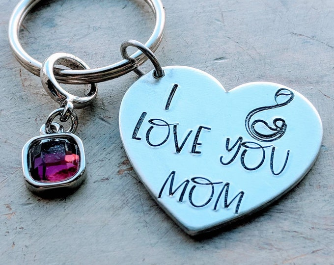 I love you Mama gift. Mother's day. Mom gift. I love you mom.  Hand stamped keychain.