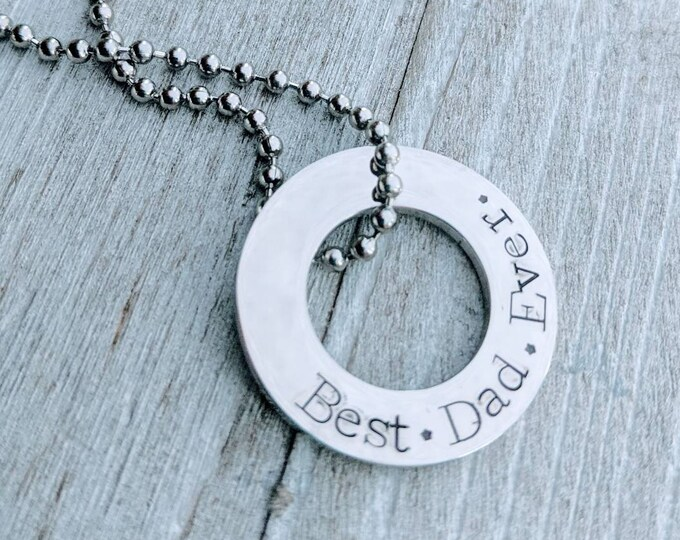 Best dad ever washer necklace. Stainless steel. Dad gift. Father's day. Gift for a dad. Dad birthday.
