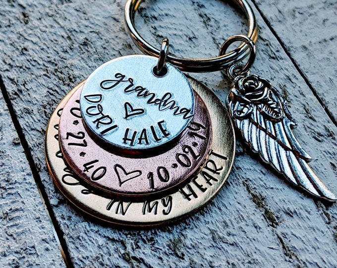 Memorial key chain. Death of parent. Loss of grandparent. Loss of dad. Loss of mom. Loss of child.