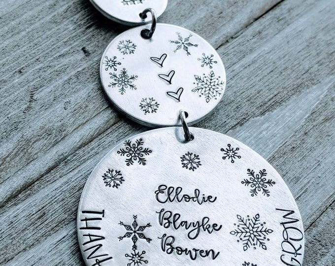 Dangling Snowman. 3 piece Hand Stamped Ornament. Thank you for helping me grow. Teacher. Daycare. Preschool. Babysitter. Nanny.