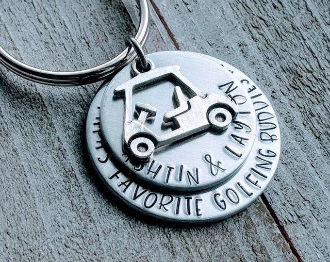 Golf keychain. Grandpa's favorite golf buddies by par. (Paw Paw's, Papa, Dad, Daddy, Grandad, Grandpa, Pop's)  <Stacked Key chain>