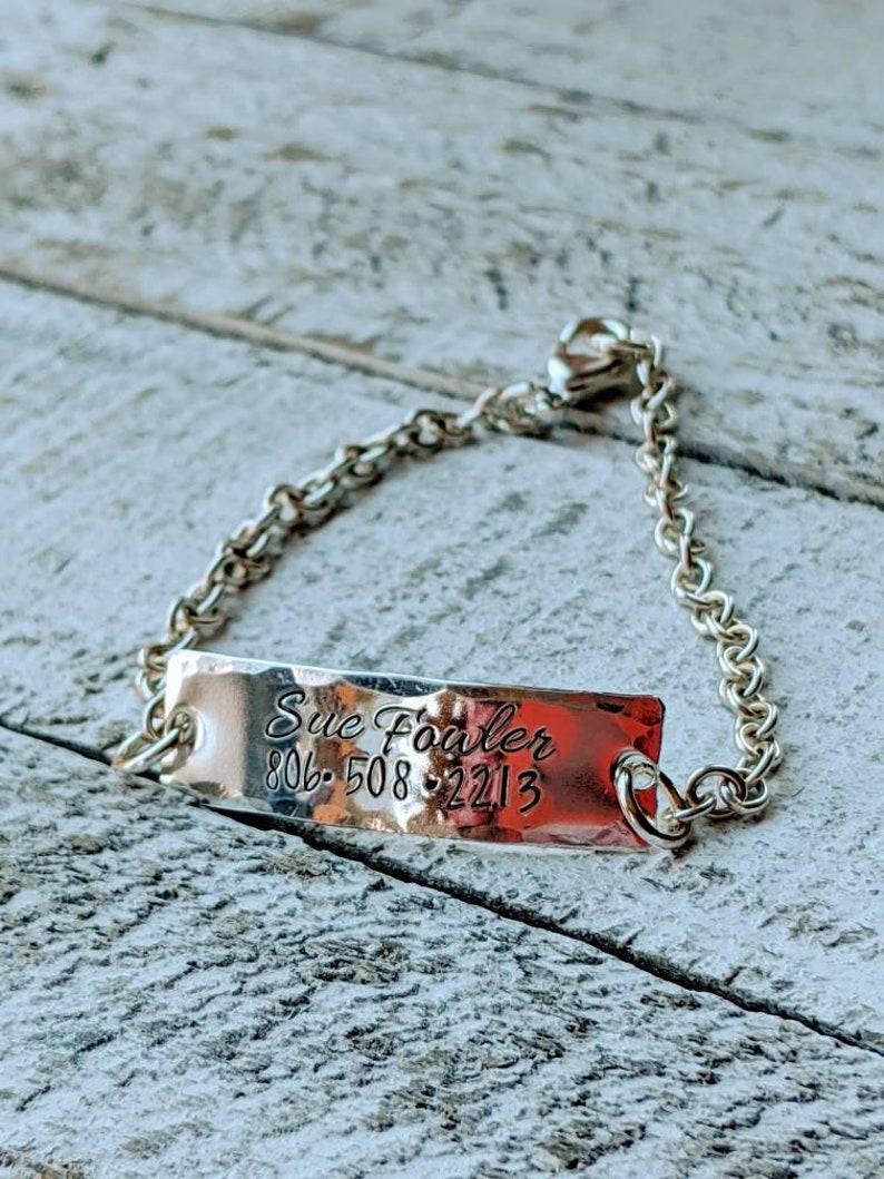 Medical Alert Bracelet Hand Stamped Alzheimer/'s Dementia Epileptic. Diabetic