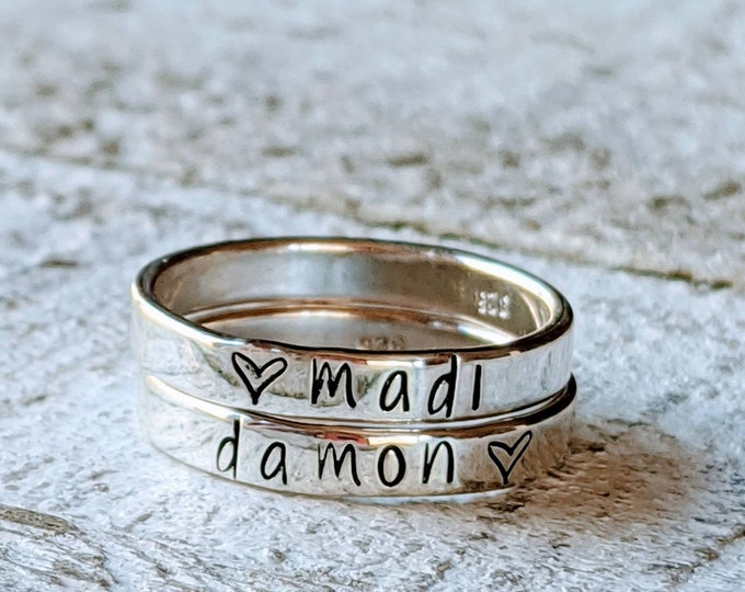 Stackable RINGS sterling silver rings 3 mm. Hand Stamped. Customized rings, Gift for her. Mother's Day. Children's names