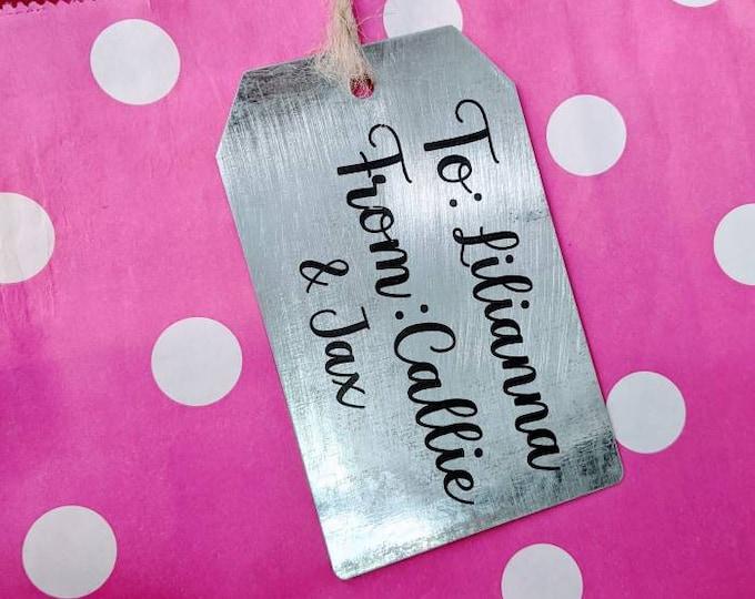 Santa name tag. Gift tag. Tag for gift. Reusable gift tag. Metal gift tag. Christmas. Santa. Name tag.