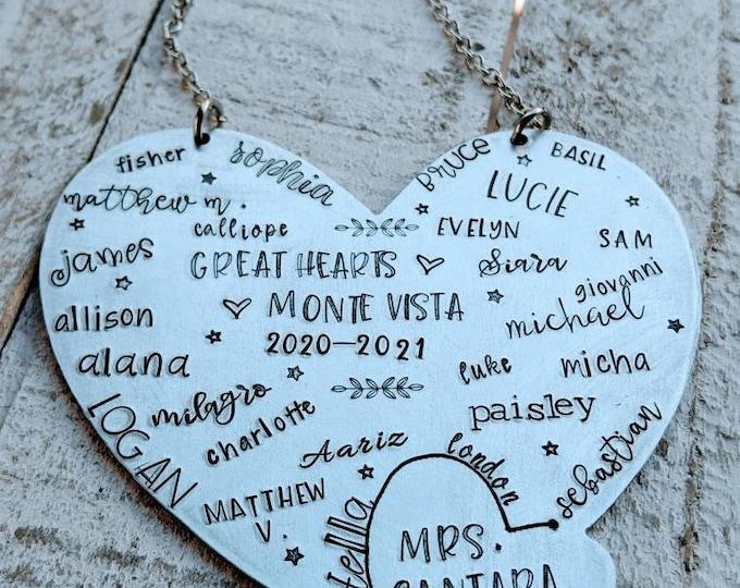 Teacher gift. Class List. End of year teacher gift. Hand Stamped Teacher Ornament. Preschool Daycare Teacher Christmas.