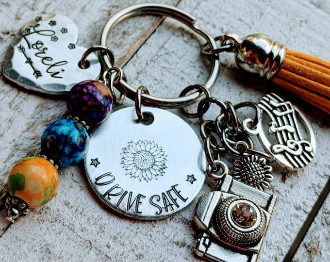 Drive safe. Teen driver. New driver. Hand Stamped. gift for daughter. Teen keychain.