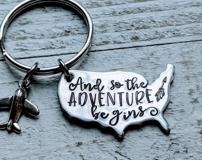 Adventure. And so the Adventure begins. USA. Keychain. Flying. Travel. Traveller. Outdoors. Mountains.  Best friend gift. Boyfriend gift