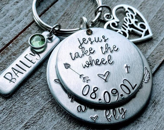 Sweet 16, new driver. Hand Stamped, gift for daughter, Jesus take the wheel. Never drive faster than your guardian angel can fly, birthday.