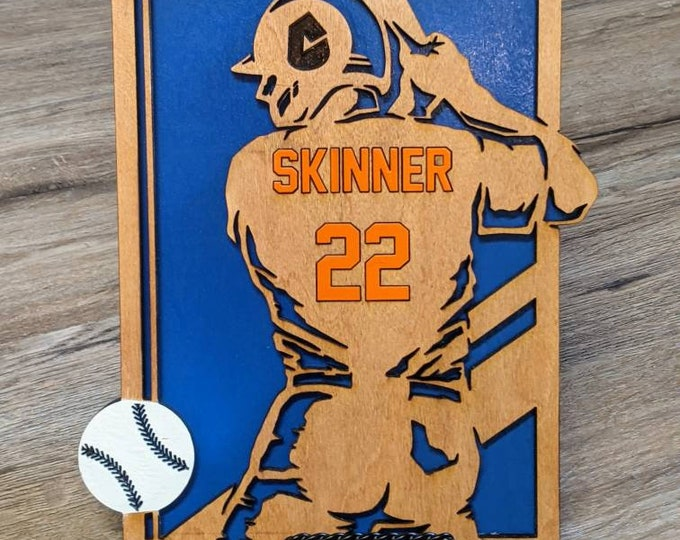Laser Engraved Sports Sign. Student Athlete. High school sports team. Football player.