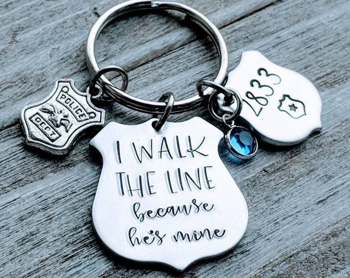 Police wife key chain with badge #, blue charm and cop charm. I walk the line because he's mine. Walk the Line. Cop Wife. Johnny Cash.