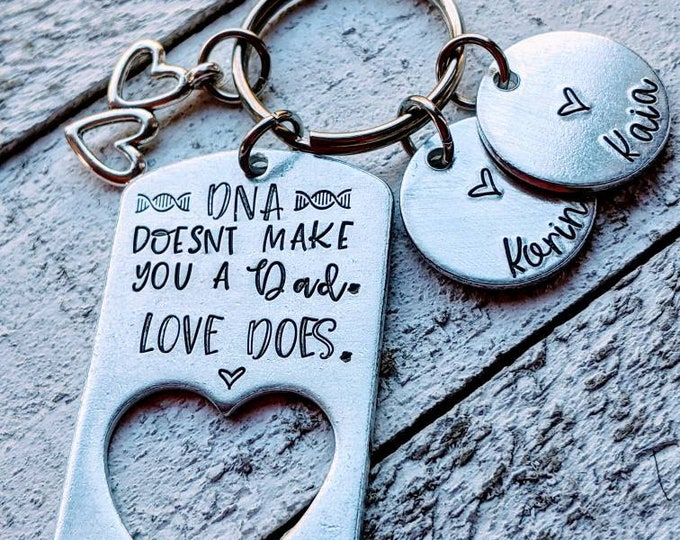 Bonus Dad Hand Stamped Keychain. Gift for bonus dad. Step-dad. 2nd dad. Second dad. Blended family. Father's day. Adoptive dad gift. DNA.