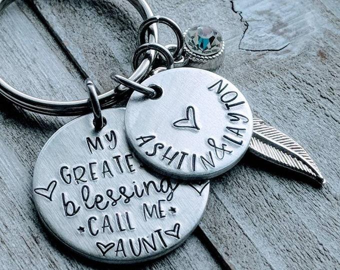 My Greatest Blessings Call Me Grandma keychain with charm & birthstone. Grandpa, Grammy, Mimi, Grandma, Aunt, Mom, etc. Mother's day.